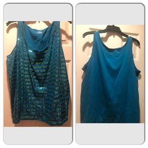 Turquoise glitter tank top